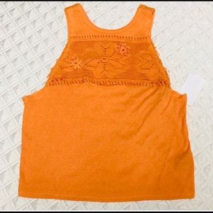 Free People Orange Embroidered Crop Top